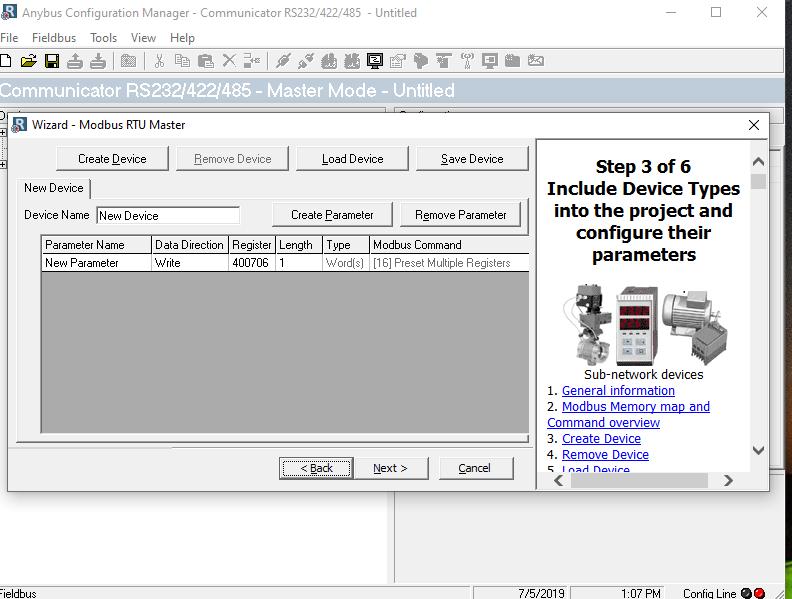 Modbus RTU to Ethernet/IP communicator configuration - Anybus